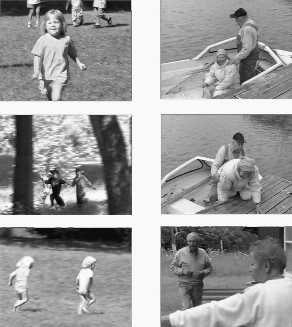 Video stills from the two monitors; one with children playing, one with an old couple.