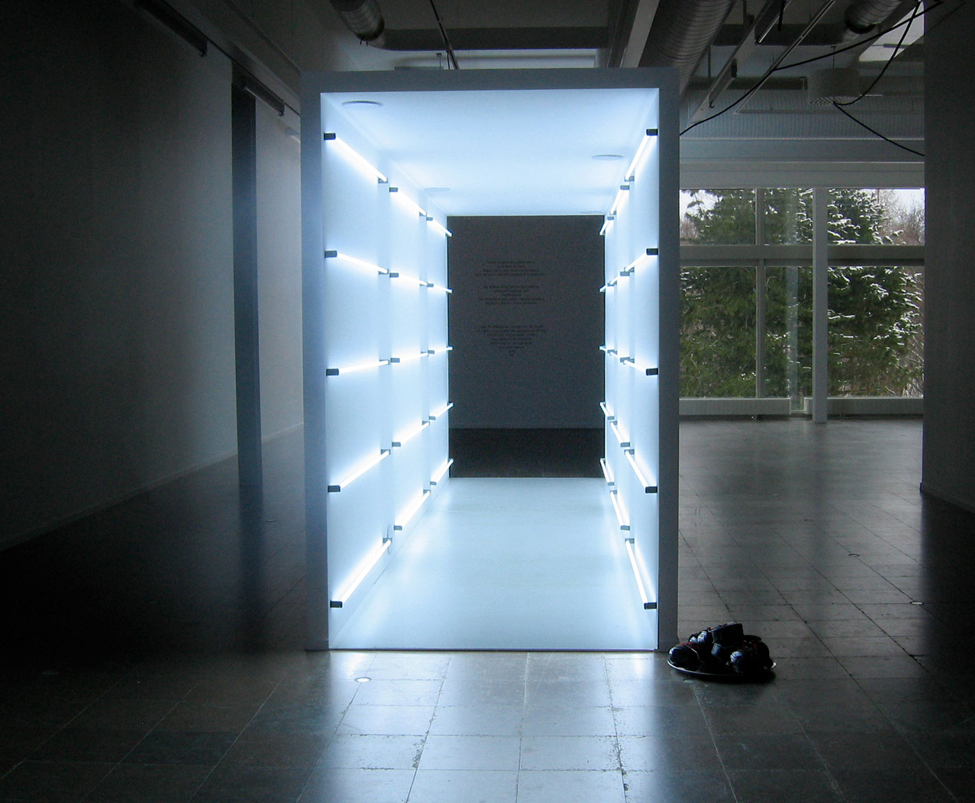 Frozen Room with 30 fluorescent tubes of 17000 Kelvin, a very cold but energizing light.
